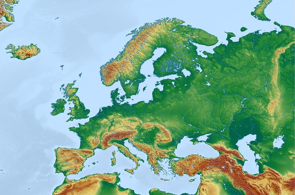 Eurupean land topography 2020